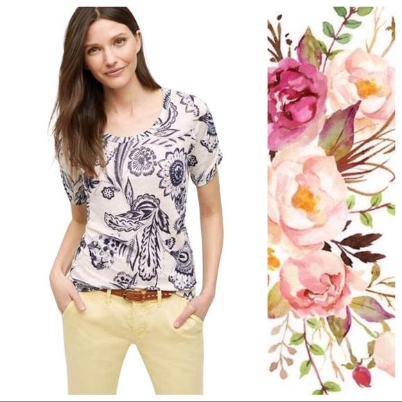 Meadow Rue Tops - Anthro Meadow Rue Eryn Floral Linen Tee Small EUC